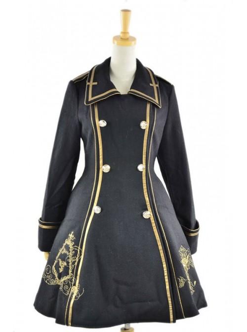 Black Wool Flannel Lapel Long Sleeves Gothic Lolita Winter Coat