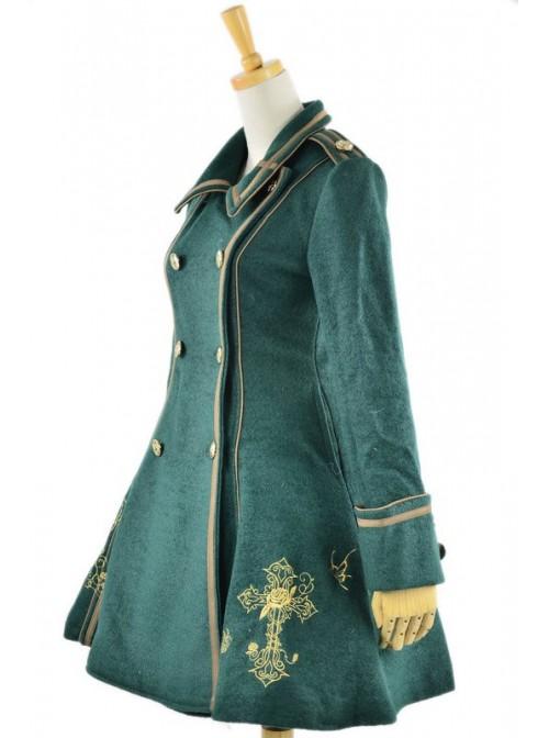 Deep Green Turndown Collar Long Sleeves Wool Flannel Lolita Coat