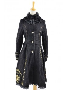 Charming Black Wool Lolita Coat