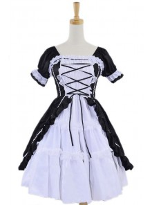 Black White Cotton Women Lolita Dress