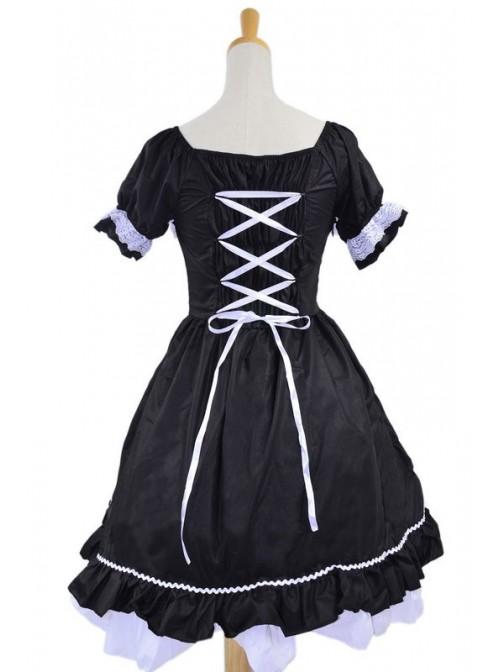 Black White Cotton Women Lolita Dress