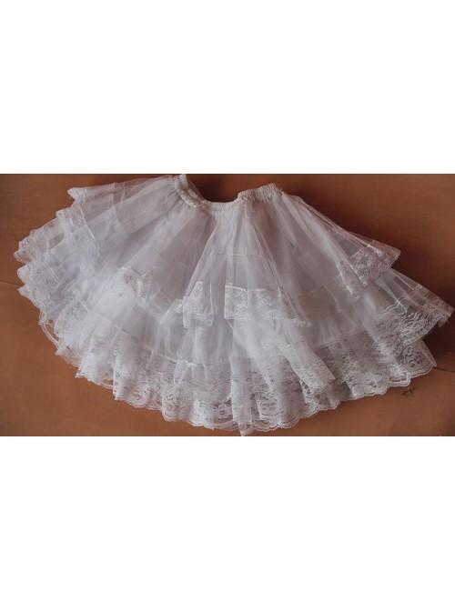Gothic White Organza Layered Lolita Skirt