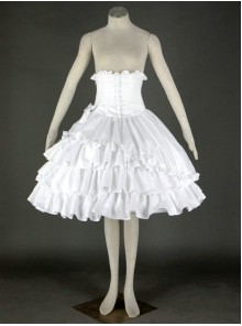 White Cute Lace Ruffles Cotton Lolita Skirt