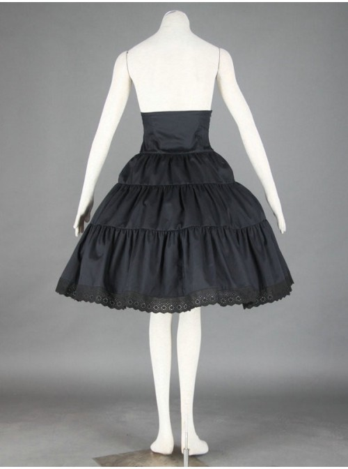 Black Cute Lace Ruffles Cotton Lolita Skirt