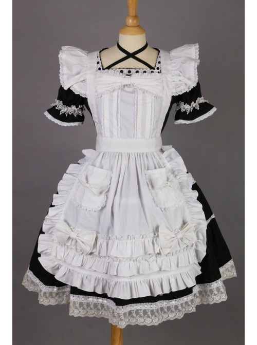 Short Sleeves Lace Trim Cotton Cosplay Maid Costume