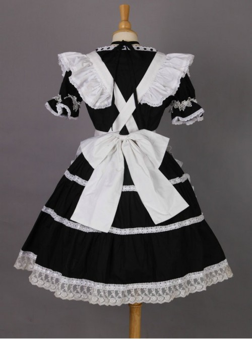 Short Sleeves Lace Trim Cute Cotton Cosplay Maid Costume