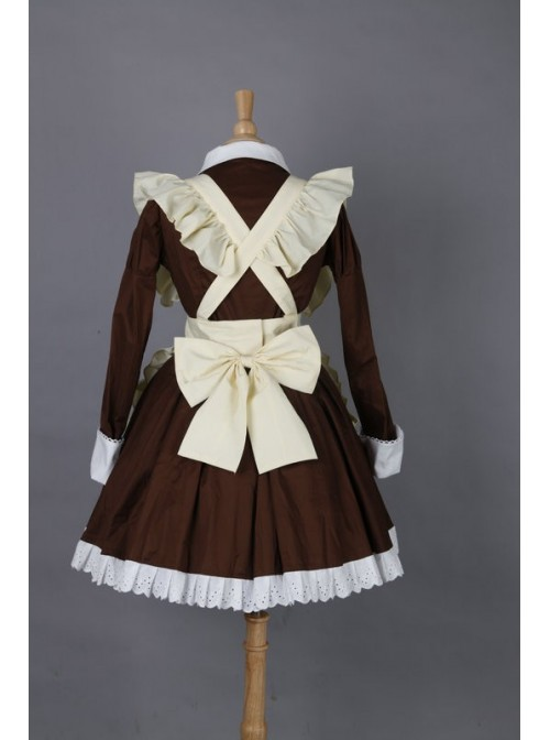 Brown Long Sleeves Cotton Cosplay Maid Costume