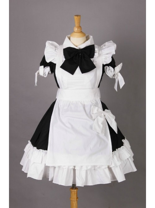 Short Sleeves Cotton Cosplay Maid Costume