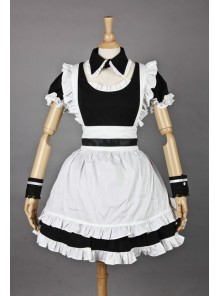 Black & White Short Sleeves Cotton Cosplay Maid Costume