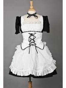 Short Sleeves Lovely Lace Cotton Cosplay Maid Costume