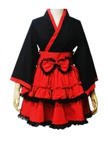 Red and Black Cotton Cosplay Maid Costume