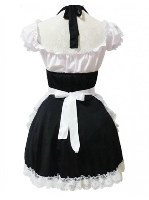 Short Sleeves Lace Sweet Cosplay Maid Costume