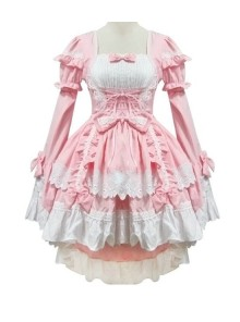 Pink Long Sleeves Cotton Cosplay Maid Costume