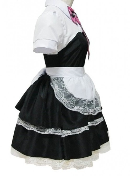 Black Short Sleeves Lace Sweet Cotton Cosplay Maid Costume