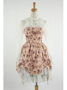 Sweet Pink Floral Lace Trim Cotton Lolita Dress