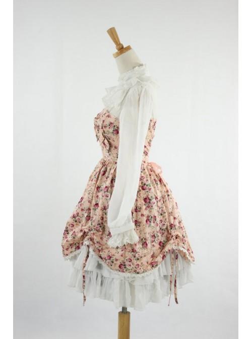 Sweet Pink Floral Lace Trim Cotton Lolita Dress
