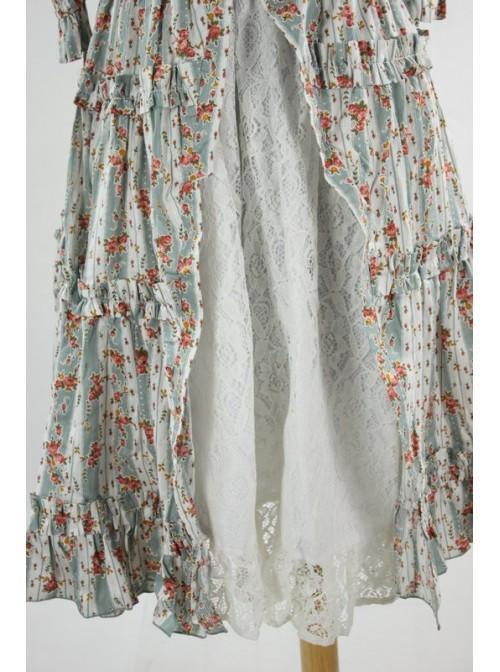 Sky-blue Floral Short Sleeves Cute Cotton Lolita Dress