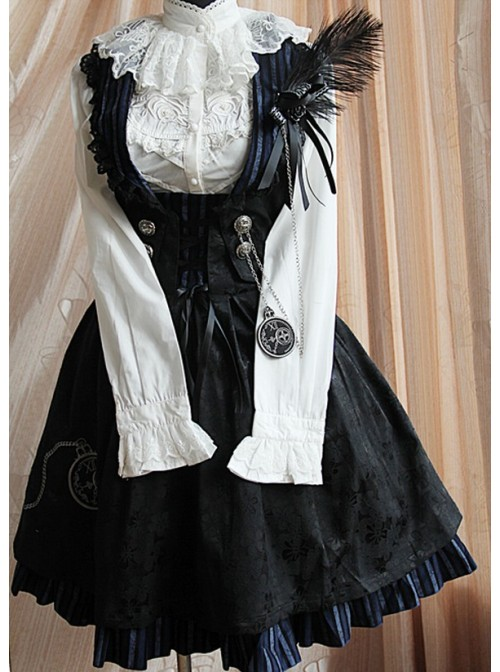 Black Stylish 100% Cotton Women Lolita Dress