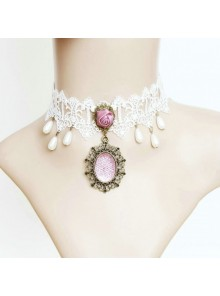 White Lace Cute Bead Lolita Necklace