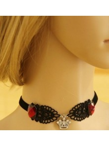 Black Lace Imperial Crown Pendant Lolita Necklace