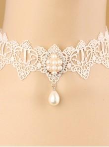 White Classic Lace Pearl Pendant Lolita Necklace