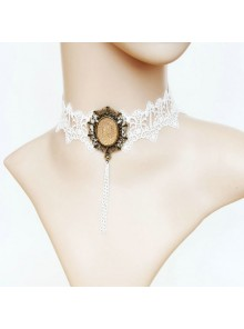 White Sweet Lace Gemstone Lolita Necklace