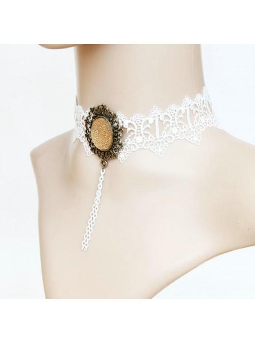 White Sweet Lace Gemstone Lolita Necklace