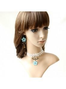 White Lace Leatherette Floral Lolita Necklace