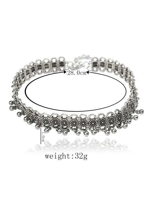 Silver Tassel Pendant Pure Alloy Necklace