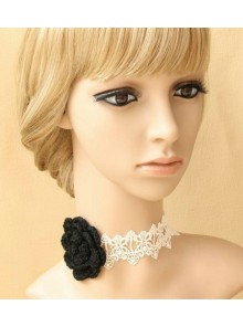Sexy White Lace Black Floral Girls Lolita Necklace