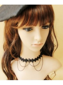 Decent Black Lace Metal Chain Lolita Necklace
