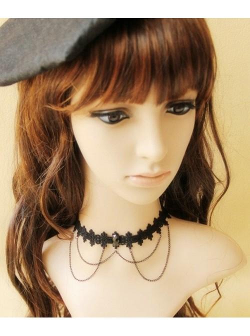 Decent Black Lace Metal Chain Lolita Necklace