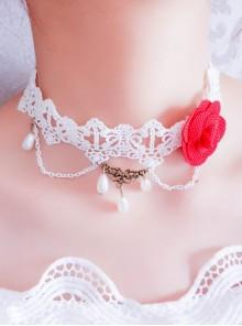 Pretty White Lace Floral Lolita Necklace