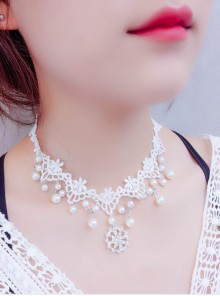Pretty Concise White Lace Lolita Necklace