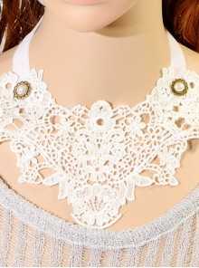 Classic White Lace Decoration Lolita Fake Collar