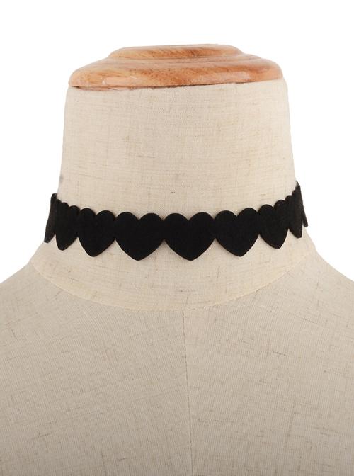 Cute Black Velvet Heart Lolita Neckband