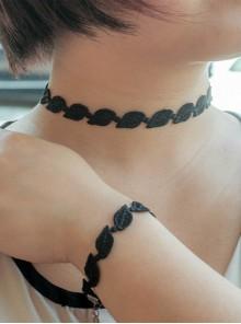 Gothic Punk Black Lace Lolita Necklace