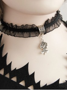 Pretty Black Rose Pendant Lolita Choker