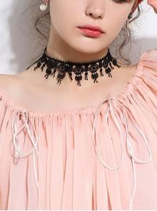 Concise Retro Black Lace Bowknot Girls Lolita Necklace