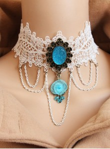Gorgeous Palace White Lace Blue Pendant Necklace