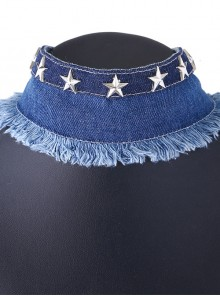 Denim Cloth Five-pointed Star Decoration Lady Lolita Necklace