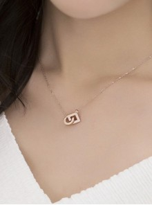 Concise Rose Gold Pendant Retro Necklace