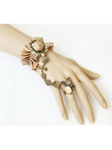 Handmade Victorian Style Champagne Color Rose Lolita Bracelet And Ring Set