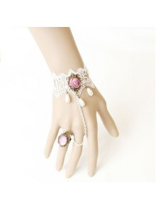 White Lace Rose Handmade Lolita Bracelet And Ring Set