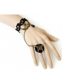 Retro Lace Venice Mask Butterfly Lolita Bracelet And Ring Set