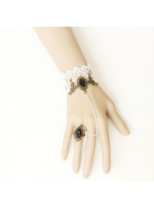Retro White Lace Handmade Lolita Bracelet And Ring Set