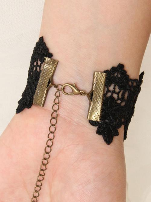 Delicate Black Lace Bracelet And Ring Set