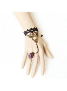 Black Lace Rose Handmade Lolita Bracelet And Ring Set