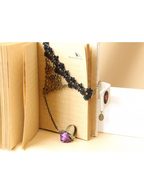 Black Lace Rose Handmade Lolita Bracelet And Ring Set