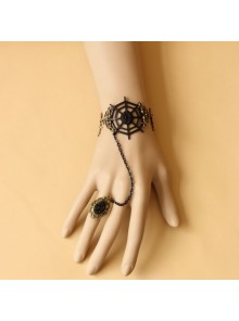 Gothic Devil Cobweb Lolita Bracelet And Ring Set